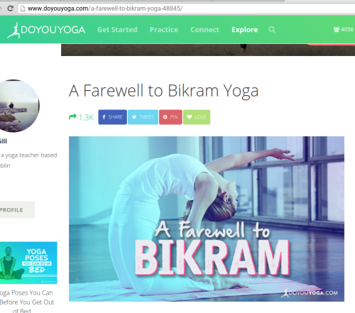 Farewell to Bikram Yoga